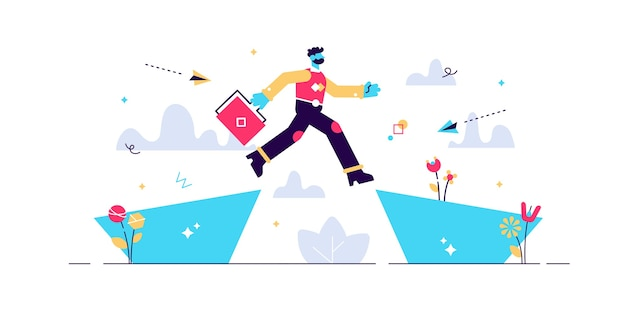 Volgende grote zakelijke sprong zakenman springen over een klif kloof