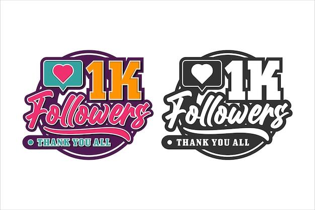 Volgers bedanken u ontwerp premium logo