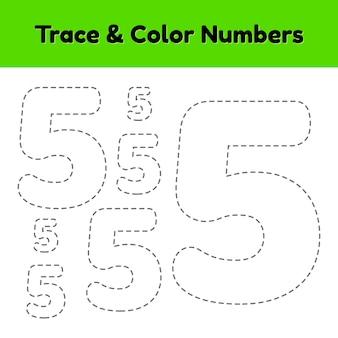 Volglijnnummer voor kleuters en kleuters. schrijf en kleur een vijf.