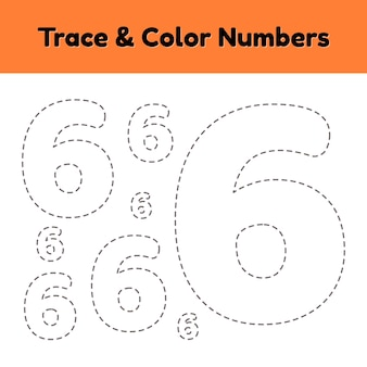 Volglijnnummer voor kleuters en kleuters. schrijf en kleur een zes.