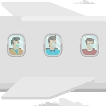 Volkeren reizen met het vliegtuig terwijl ze een medisch masker blijven gebruiken