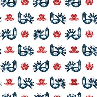 Volkskunst naadloos patroon met pauw en bloemenelementen.