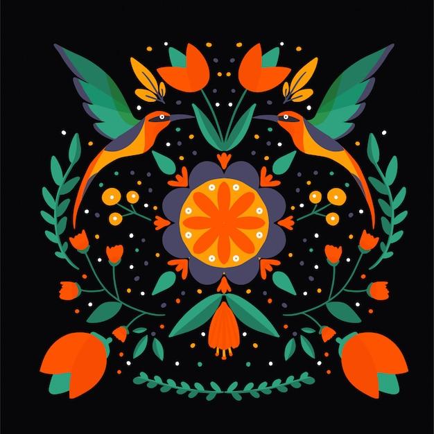 Volkskunst skandinavisch kleurrijk patroon met bloemen en vogels
