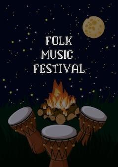 Volksmuziekfestivalaffiche met etnische trommels, kampvuur en sterrige hemel.