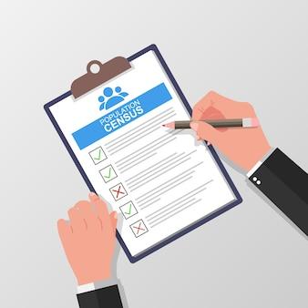 Volkstellingformulier met potlood vectorillustratie met hand houden en checklist vullen op vel papier klembord