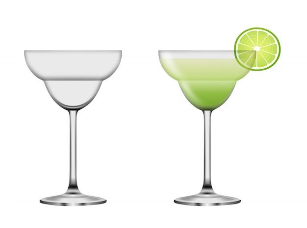 Volle en lege margarita cocktailglazen. zomer cocktail