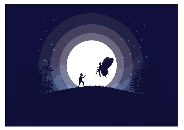 Volle maan achtergrond vectorillustratie