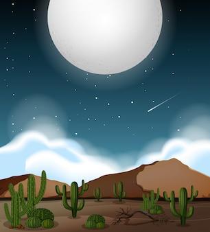 Volle maan boven woestijntafereel