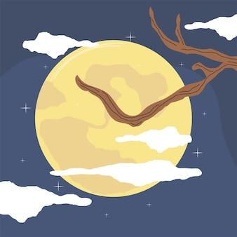 Volle maan en boom