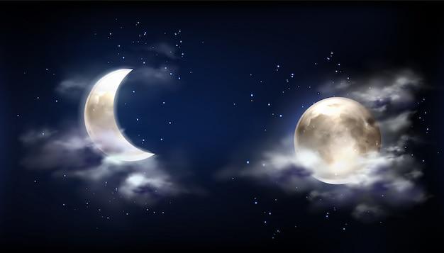 Volle maan en halve maan in de nachtelijke hemel met wolken