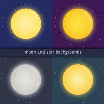 Volle maan gloeien op donkere transparante achtergrond.