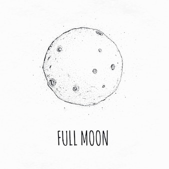 Volle maan in de ruimte met maankraters. logo hand getekend vectorillustratie