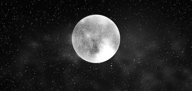 Volle maan met sterren geïsoleerd op een donkere achtergrond. magische vectorelementen