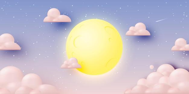 Volle maan met sterrennacht in papier 3d-kunststijl en pastelkleur