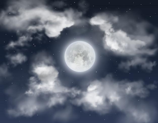 Volle maan met wolken