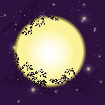 Volle maan, nachtelijke hemel en silhouetten van gebladerte en takken.