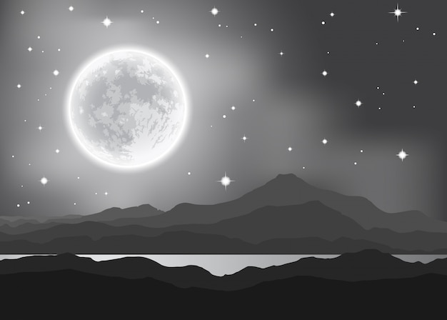Volle maan over bergen en meer. nacht landschap. vector illustratie.