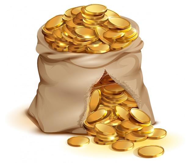 Volle zak gouden munten barsten, contant goudgeld