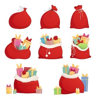 Volle zak met cadeaus van de kerstman. kerst decoratief element