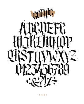 Volledig alfabet in de gotische stijl.