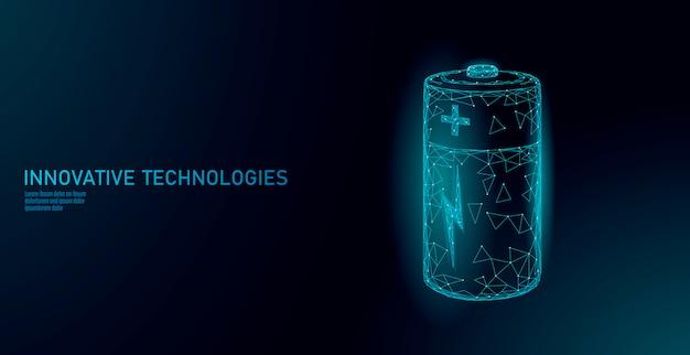 Volledig opgeladen veelhoekige alkalinebatterij. energie-opslag elektrische oplaadbare voeding. blauwe gloeiende laag poly veelhoek deeltje ruimte donkere hemel industrie technologie concept vectorillustratie