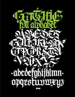 Volledige alfabet in de gotische stijl vector letters en symbolen op een zwarte achtergrond