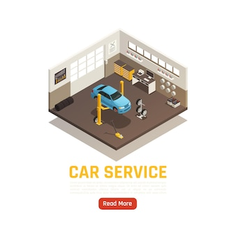Volledige auto service garage auto reparatie isometrische illustratie