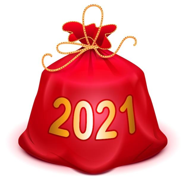 Volledige geknoopte zak met kerst- en nieuwjaarscadeau