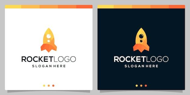 Volledige kleur raket logo vector pictogrammalplaatje. premium vector