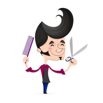 Volledige lengte van jonge hipster kapper met baard met kam en schaar in handen op de achtergrond. professionele kapper klaar om een knipbeurt te doen.
