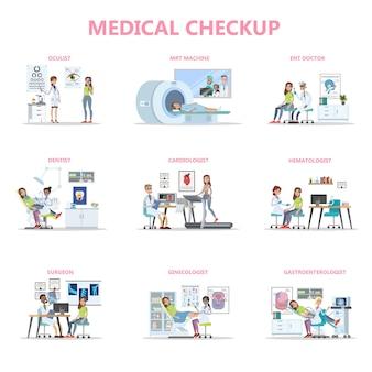 Volledige medische controle met vrouwelijke patiënt en artsen. idee van de gezondheidszorg. oogarts en tandarts, chirurg en mri. geïsoleerde platte vectorillustratie