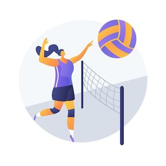 Volleybal abstract concept vectorillustratie. beachvolleybalcompetitie, recreatieve sport, professioneel team, uitrusting, universiteitstoernooi, bekijk de abstracte metafoor van het wereldkampioenschap.
