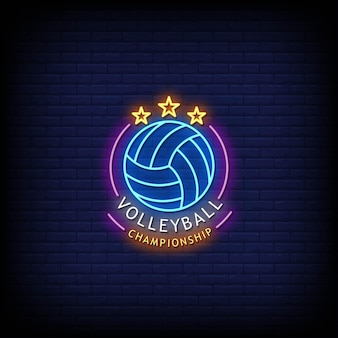 Volleybal championship logo neon signs