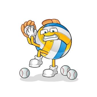 Volleybal honkbal werper stripfiguur