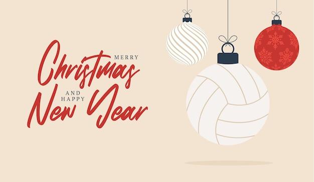Volleybal kerst wenskaart. prettige kerstdagen en gelukkig nieuwjaar platte cartoon sportbanner. volleybal bal als een kerst bal op de achtergrond. vector illustratie.