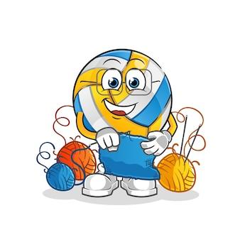 Volleybal kleermaker mascotte. tekenfilm