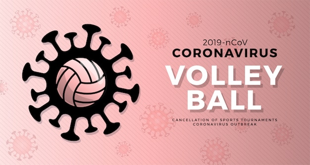 Volleybal let op coronavirus. stop uitbraak. coronavirusgevaar en risico voor de volksgezondheid ziekte en griepuitbraak. annulering van sportevenementen en wedstrijden concept