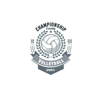 Volleybal logo vector. set badges logo's volleybalteams en toernooien, kampioenschappen volleybal.