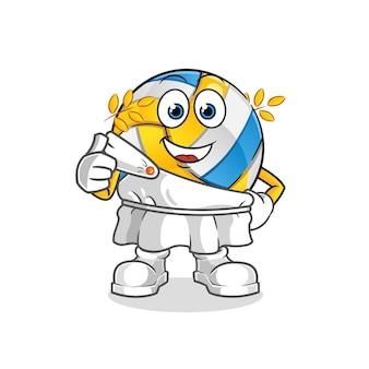 Volleybal met traditionele griekse kleding cartoon. cartoon mascotte