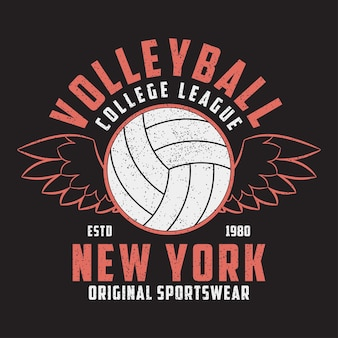 Volleybal new york grunge print voor kleding met bal en vleugels typografie embleem voor tshirt