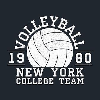Volleybal new york grunge print voor kleding met bal typografie embleem voor tshirt