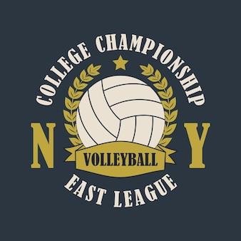 Volleybal new york print voor kleding met bal lauwerkrans lint en ster voor tshirt