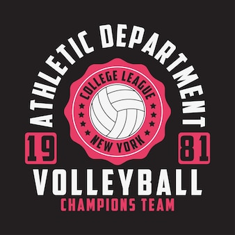 Volleybal new york print voor kleding met bal typografie embleem voor tshirt