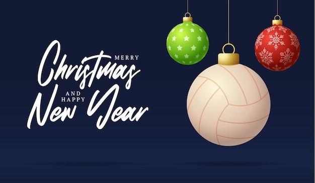 Volleybal prettige kerstdagen en gelukkig nieuwjaar luxe sport wenskaart. volleybal bal als een kerst bal op de achtergrond. vector illustratie.