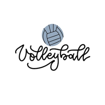 Volleybal zwarte lineaire letters op witte achtergrond met volleybal volleybal kalligrafie sport ...