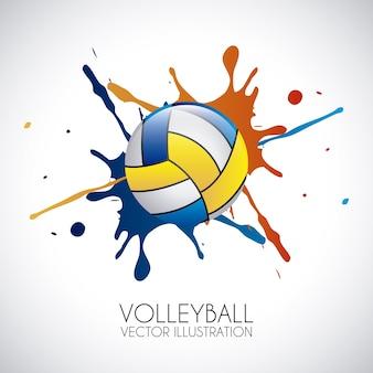 Volleybalontwerp over grijze vectorillustratie als achtergrond