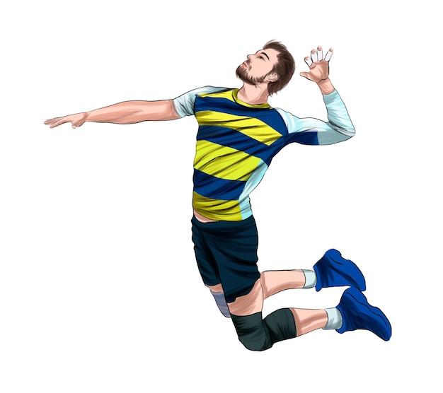 Volleybalspeler van veelkleurige verf splash van aquarel gekleurde tekening realistisch