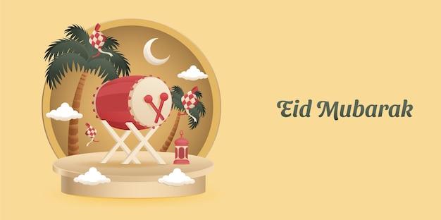 Voltooi de achtergrond van eid al fitr mubarak islamic ornaments