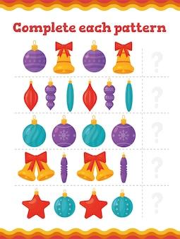 Voltooi elk patroon educatieve spelletjes voor peuters met kerstboomversiering. preschool of kleuterschool kerst werkblad.
