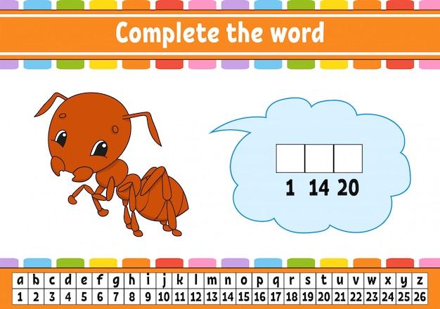 Voltooi het woordenspel voor kinderen